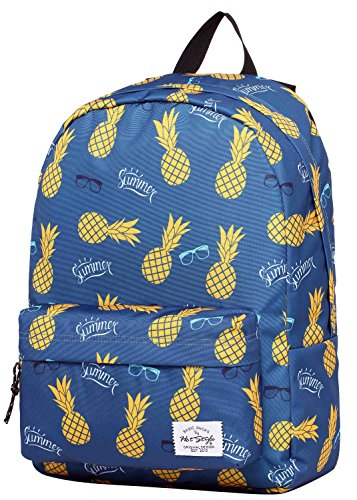SIMPLAY Classic School Backpack Bookbag | 17''x12.5''x5'' | Trendy Pattern | Summer Pineapple by hotstyle