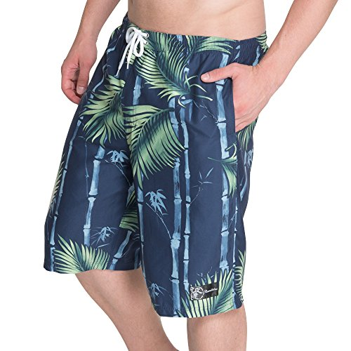 NAMITATSU Surf Pants - Japanese Bamboo Forest Print … (3L, Navy) X114-754