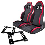 Pair of RSXL01RD Racing Seats+Mounting Bracket for Jeep Wrangler JK