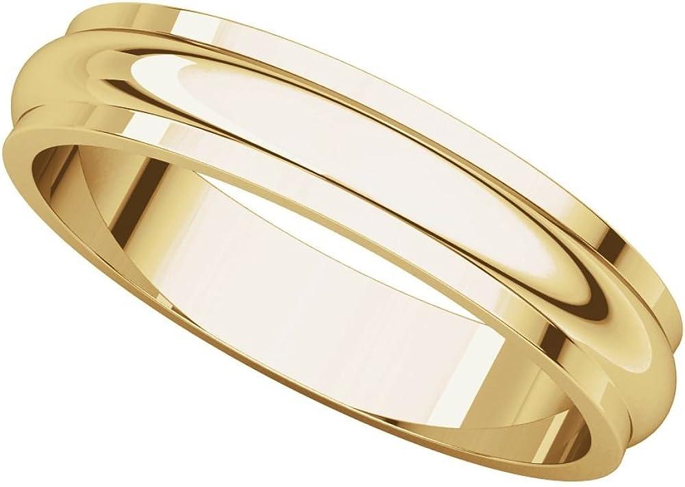 Bonyak Jewelry 10k White Gold 4 mm Half Round Band