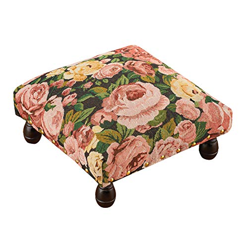 Winston Tapestry - Collections Etc Traditional Rose Tapestry Footstool with Cream and Green Accents, Traditional-Style with Brass Tack Studs