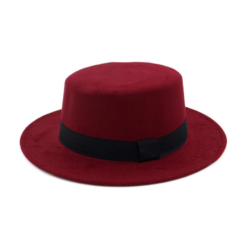 Solid Color Classic Wool Blend Brim Flat Fedora Hat Derby Church Cap