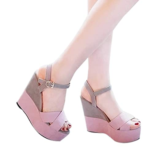 34b7dad534d Amazon.com  Gyouanime Women High Heel Wedge Platform Sandals Platform Shoes  Peep Toe Wedge Sandals Dress Shoes Summer Beach Shoes  Clothing