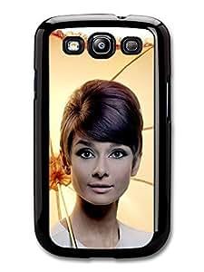AMAF ? Accessories Audrey Hepburn With Umbrella Portrait case for Samsung Galaxy S3