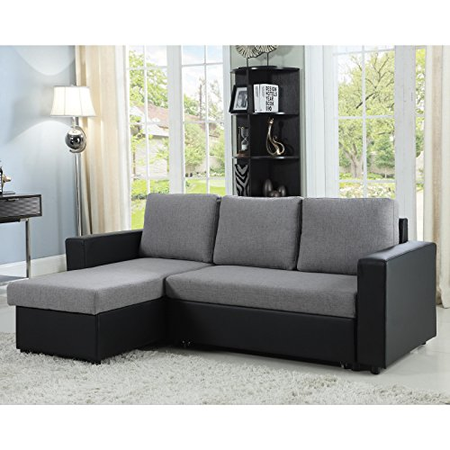 Coaster Home Furnishings 503929 Living Room Sectional Sofa, Grey/Black