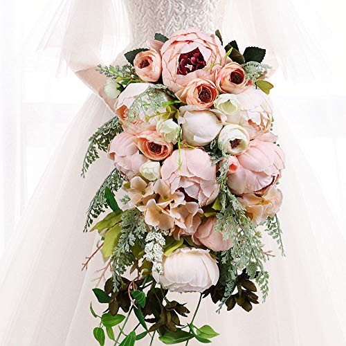 (HiiARug Handmade Wedding Bouquets, Pink Artificial Peony Rose Pearl Bridal Bouquet Bride Bridesmaid Holding Flower  for Wedding Party Home Decoration)