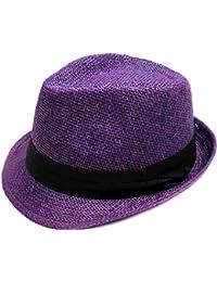 00cc8f64 Unisex Summer Cool Woven Straw Fedora Hat & Stylish Hat Band