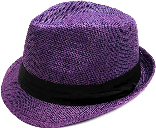 Simplicity Summer Sun Short Brim Straw Fedora Hat, 756_Purple ()