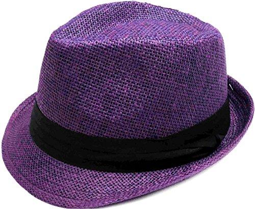 Simplicity Summer Sun Short Brim Straw Fedora Hat, 756_Purple LXL