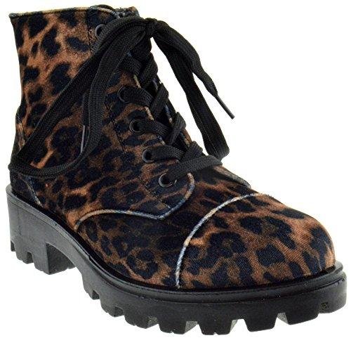 BAMBOO Tread 14xm Womens Lace Up Combat Boots Leopard Velvet 6