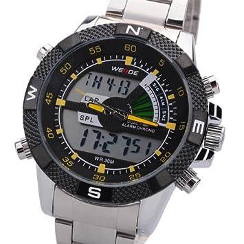 WEIDE Mens aleación de plata digital LCD Alarma Deporte Reloj de pulsera de buceo 30 m impermeable - amarillo aguja - acaba de llegar.