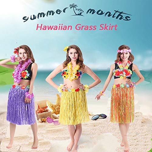 Grass Skirts for Adults Hula Skirt Plus Size Luau Dance Hawaiian Party Costume Elastic Waist (Multicolor)]()