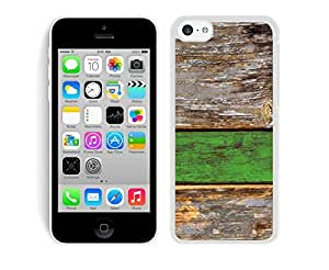 Graceful PC Soft Rubber Iphone 5c Case Old Green Wood Texture Silicone Cell Phone White Cover Accessories