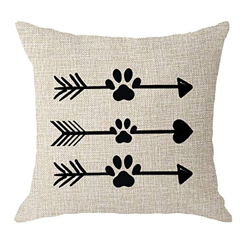 NIDITW Dogs Lovers Moms Gift Nordic Simple Abstract Arrows with Dog Paw Prints Cream Body Cream Burlap Throw Pillow Case Cushions Cover Pillow Sham Sofa