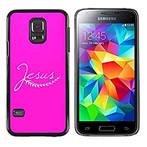 Paccase / SLIM PC / Aliminium Casa Carcasa Funda Case Cover para - BIBLE Jesus - Pink - Samsung Galaxy S5 Mini, SM-G800, NOT S5 REGULAR!