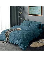 Decorative Pinch Plated Pintuck Duvet Cover 800 TC Egyptian Cotton King -XL 116x98 Size 1-PCs Duvet Cover {Diamond Shape} Zipper Closer & Corner Ties Breathable & Soft Medium Blue Solid
