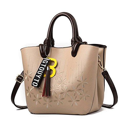 DEI QI Bolsos de mano de moda japonesa y coreana encanto bolsa de hombro bordado clásico Messenger portátil (Color : Yellowish brown) Khaki