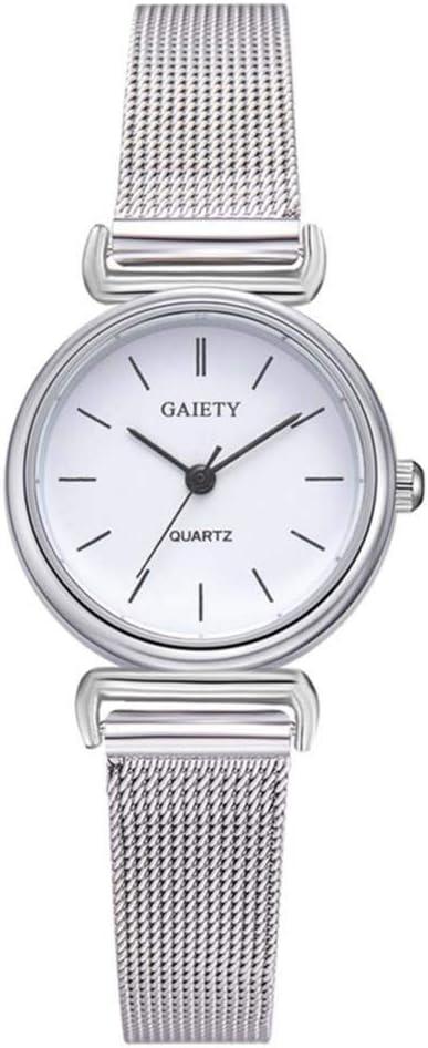 Reloj de pulsera para mujer, 2 colores, de calidad, casual, pequeño, redondo, con correa de aleación ajustable para mujer (blanco)