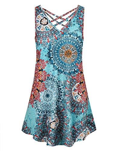 Cyanstyle Tunic Dresses for Women Knee Length Ladies Sleeveless Shirts V Neck Flowy Flattering Print Stretchy Jersey Knit Summer Party Swing Paisley Blouse Dress Blue M
