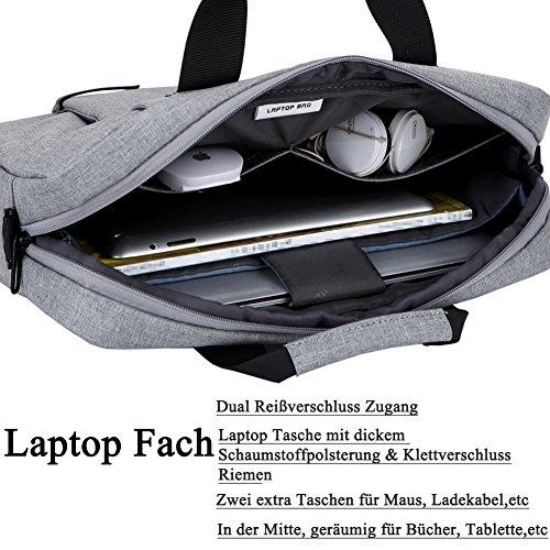 Laptop Tasche 15,6 Zoll, BRINCH stilvoll Nylon Laptop Messenger Bag Umhängetasche Schultertasche Aktentasche für 15-15,6 Zoll Laptop / Notebook / MacBook / Ultrabook / Chromebook Computers,Dunkel Grau Grau