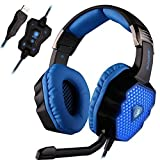 SADES A70 Virtual 7.1 Channel Wired USB Surround Sound Stereo Professional PC Gaming Headset Over-Ear headband headphones with Microphone Volume Control Breathing LED light(Black&Blue)