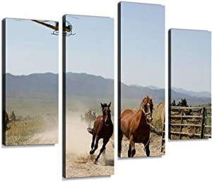 Bureau of Land Management Rounds Up Wild Horses Canvas Wall Art Hanging Paintings Modern Artwork Abstract Picture Prints Home Decoration Gift Unique Designed Framed 4 Panel