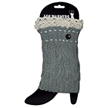 Adorable Button and Lace Short Leg Warmers / Boot Socks Topper Cuffs