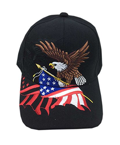 Eagle American 1 - Aesthetinc Patriotic American Eagle and American Flag Baseball Cap USA 3D Embroidery (Black 1)