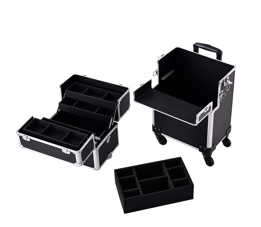 Makeup Case - 3 In 1 Aluminum Professional Rolling Cosmetics Storage Organizer With Locks and Folding Trays Black by NHSM (Image #4)