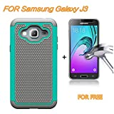 J3 Case, Express Prime Case, Amp Prime Case, SAUS Hybrid Dual Layer Armor Shock Absorption Defender Bumper Protective Case With FREE tempered glass screen protector For Samsung Galaxy J3 (Mint/Grey)