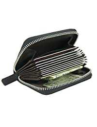 Leather Slim RFID Blocking Coin Pouch Purse Credit Card Case Holder Wallet With Zipper (Black)