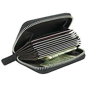 RFID Blocking Coin Pouch Purse Credit Card Case Holder Wallet With Zipper (Black)