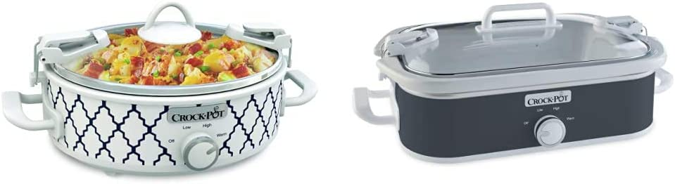 Crockpot 2.5-Quart Mini Casserole Crock Slow Cooker, White/Blue & Crock-Pot 3.5 Quart Casserole Manual Slow Cooker, Charcoal