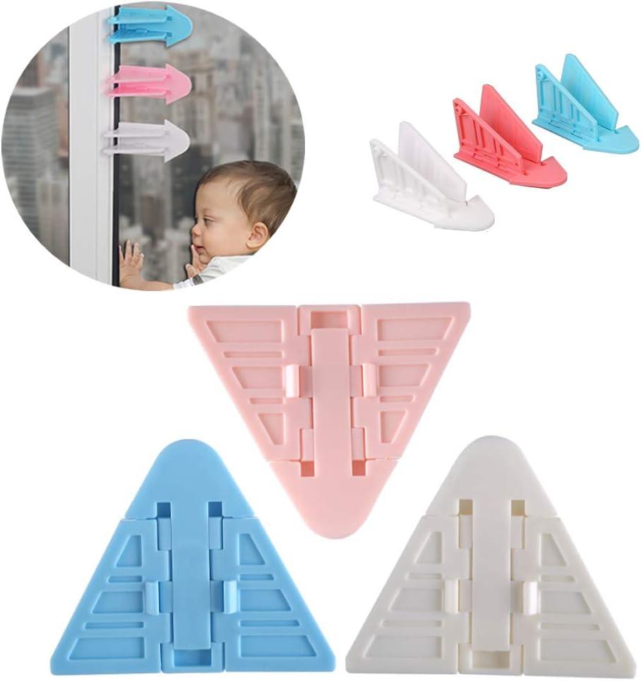 Cerraduras de puertas correderas para la seguridad del bebé/niño,Evite que los niños y las mascotas abran corredizas ventanas,puertas corredizas,armarios y armarios(paquete de 3 en diferentes colores)