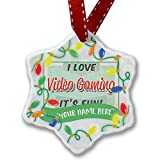 Personalized Name Christmas Ornament, I Love Video Gaming, Vintage design NEONBLOND