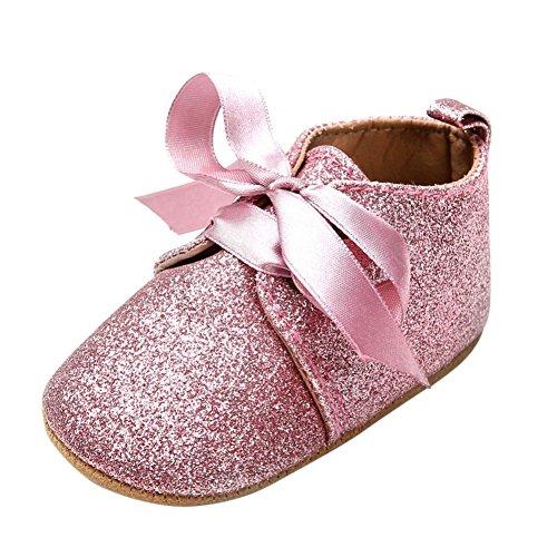 BOBORA Bebes Recien Nacidos Nina Lentejuelas Zapatos De Cuero De Leopardo Hasta Encaje De Arco Sneaker rosa