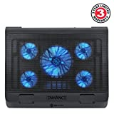 ENHANCE XL Gaming Laptop Cooler Pad with 5 Oversized LED Fans for Max Cooling , Adjustable Viewing Stand , 2 USB Ports for Data Transfer – fits 17 inch Notebooks from Alienware , ASUS , HP - BLUE