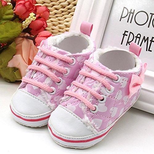 Tefamore los zapatos de lona con cordones de lana suave Único nieve pre Walker niño caliente bebé recién nacido Rosa