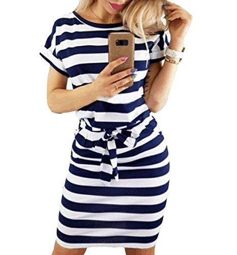 Asskdan Women's Casual Short Sleeve Knee Length Belted Dress with Pockets (Z-Dark Blue Stripe, L)
