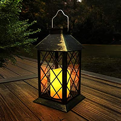 Lavish Home 72-LNTN-4 Solar Powered Lantern-Hanging or Tabletop Water Resistant LED Pillar Candle Lamp for Indoors or Outdoors Classic Garden Décor