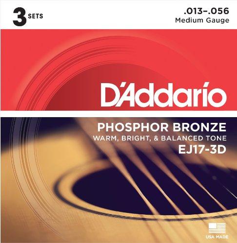 Cuerdas de guitarra acústica D'Addario EJ17 Phosphor Bronze, tamaño medio (paquete de 3) - Bronce fosforoso resistente a la corrosión, ofrece un tono acústico cálido, brillante y bien equilibrado y una cómoda capacidad de interpretación