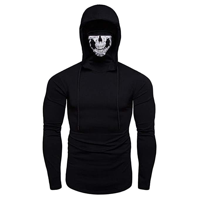 Binmer Mens Skull Pure Color Pullover Long Sleeve Hooded Sweatshirt Tops Blouse Face Mask at Amazon Mens Clothing store: