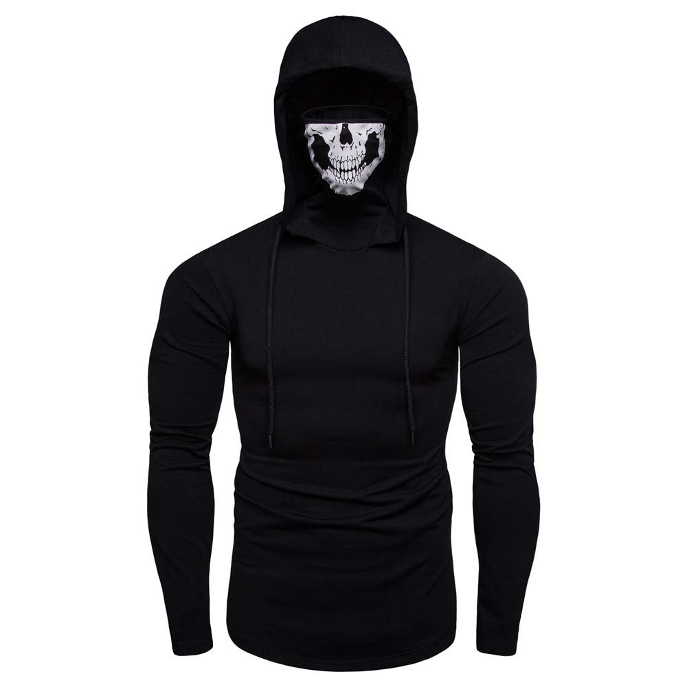 Mens Hoodie Stylish Mask Skull Design Solid Drawstring Sweatshirt Coat by Balakie(Black,M)