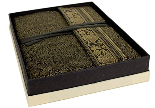 Sari Extra Large Black Handmade Handbound Journal, Plain Pages (30cm x 21cm x 3cm)