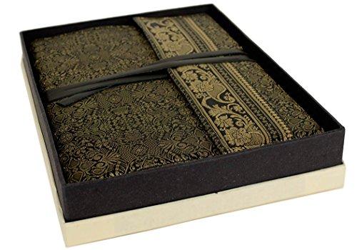 Sari Extra Large Black Handmade Handbound Journal, Plain Pages (30cm x 21cm x 3cm)