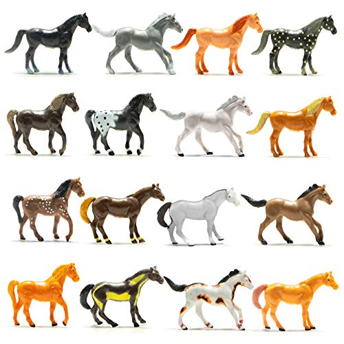 Prextex Plastic Horses Party Favors, 16 Count (All Different Horses in Various Poses and Colors) Best Toy Gift for -