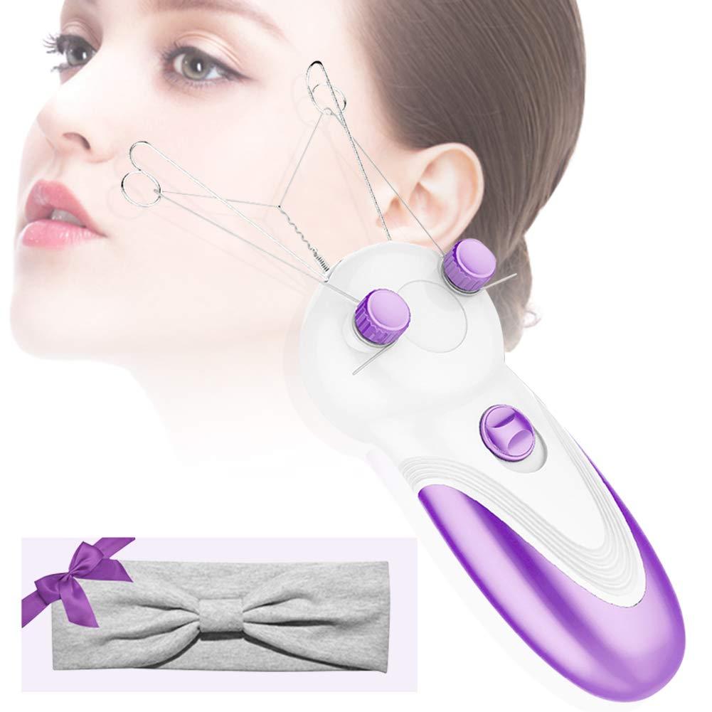 Electric Body Facial Hair Removal for Women, Glodeals Facial Epilator Cotton Thread Epilator Trimmer Hair Remover for Removes Facial,Lip,Chin,Cheeks