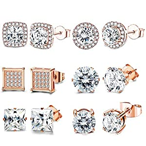 FIBO STEEL 6 Pairs Cubic Zirconia Stud Earrings Set For Women Shining CZ Halo Square Round Earrings Rose Gold