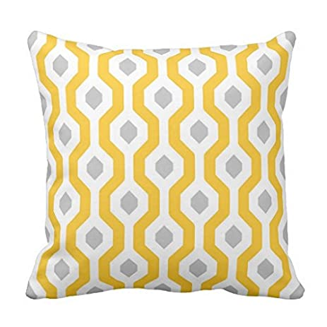 Amazon Geometric Hexagon Link Pattern Yellow Grey Throw