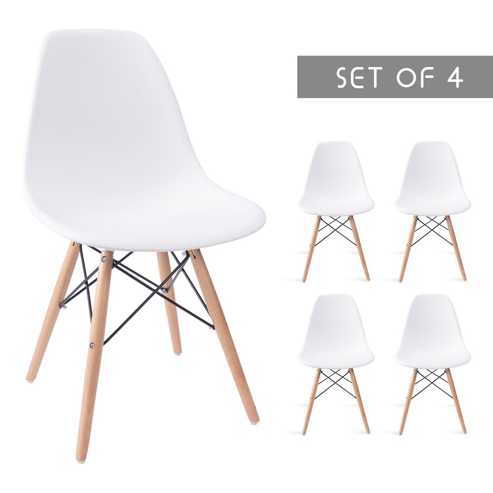 Devoko Mid Century Modern Style Pre Assembled Dining Chair DSW Classic Plastic Side Chair Armless Living Room Chairs Set of 4 (White)